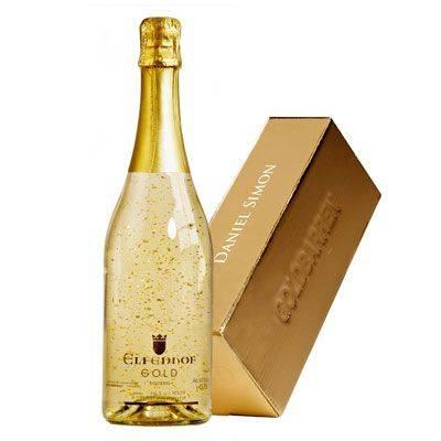 Mit Logo bedruckte Sekt Gold Flasche als Werbeartikel und als Teaser