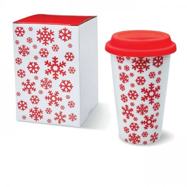BORMIO Doppelwandiger Porzellanbecher mit weihnachtlichem Dekor