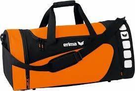 Sehr edle Sporttasche in neon Orange und schönem, tiefen Schwarz